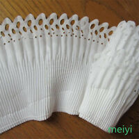 3 yards 2-layer Elastic Pleated Organza Lace Trim Gathered Chiffon Ribbon White
