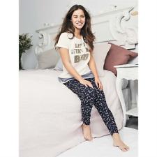 AVON Ladies Womens Cuffed Bottoms Pyjamas Set PJs Short Sleeve Size 8 10