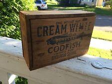 Antique Codfish Box Cobalt Blue Advertising Wooden Box Fish Graphics