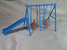 Vintage Dollhouse Blue Playground Swingset - Swing, Slide, 2 children