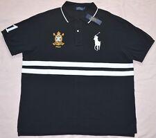 $125 New 2XB 2XL BIG 2X POLO RALPH LAUREN Mens Big Pony Black Rugby shirt top
