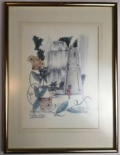 More details for nassau bahamas queen staircase yellow elder print mounted and framed
