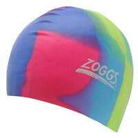 Boxed Zoggs Junior Swim Cap NEW Girls Swimming Hat Silcone Unisex Yellow Blue