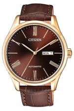 CITIZEN NH8363-14X Automatic Gold Stainless Steel Brown Dial Leather Men's Watch