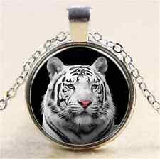 Vintage  White Tiger Cabochon Tibetan Silver Glass Chain Pendant Necklace NEW
