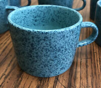 Rare Vintage Signature Stoneware Japan 4 piece Mug Cup Speckled turquoise Coffee