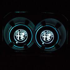 2PCS for Alfa Romeo LED Car Cup Holder Pad Mat Auto Interior Atmosphere Lights
