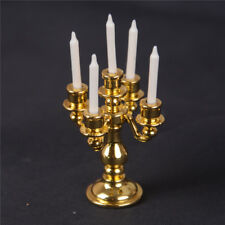1/12 Scale Miniature Gold Candelabra 5 White Candles Dollhouse Kitchen toyW B9
