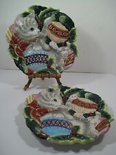 "2 Fitz And Floyd ""Kristmas Kitty"" Canape/Dessert Plates 2003"
