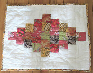 """Pottery Barn Patchwork Quilted Standard  Pillow Sham Gold Green Red 21X26"""" New"""