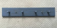 Wooden Bridle Rack - Grey Painted Wood With Four Bridle Hooks & Hardware To Hang