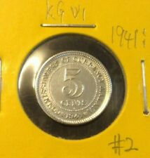 MALAYA  KING GEORGE VI  5 cents coin 1941i  KEY DATE  Silver .750 High Grade #2
