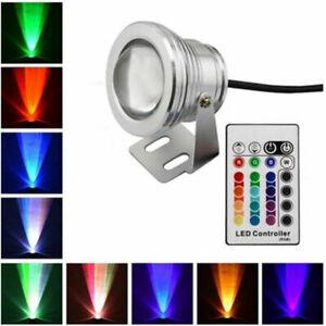 RGB LED Unterwasserbeleuchtung DC 12V 10W Wasserdicht Strahler Fluter Lampe th