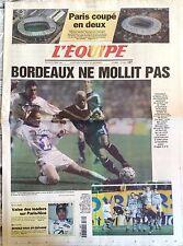 L'Equipe Journal 10/3/1999; Parc des princes contre Stade de France/ Bordeaux