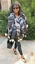 New  Custom Design Unusual Silver fox tails Fur Vest coat jacket bolero M 2-10