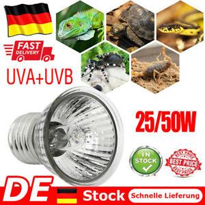 25/50W UVA + UVB UV Strahler Terrarien Beleuchtung Lampe Reptil Schildkröte DE