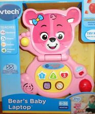 Vtech Bear's Baby Laptop 55 songs,melodies,sounds & phrases Learning Toy Pink
