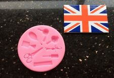 Hairdressers Themed Mould With Scissors Brushes Hairdryer For Cake Decorating