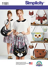 Simplicity Pattern 1181 ANIMAL THEMED BAGS cat fox dog owl adult sized novelty