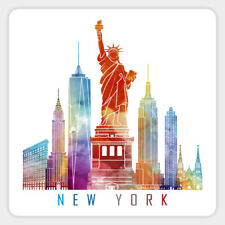 New York City Skyline Watercolor Vinyl Decal Decor Sticker Laptop Quote Bumper