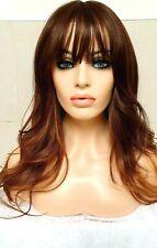 Light Brown Dark Auburn Human Hair Wig Lace Front Long Bangs Fringe side part