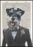 Miniature Schnauzer Print Vintage Dictionary Page Wall Art Picture Dog In Suit