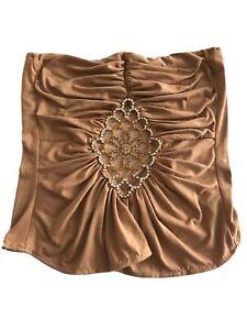 Women Top Strapless Embellished Rhinestones Size M Color Beige