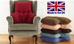 BACK & LUMBAR SUPPORT CUSHION - Microfibre Cover / Choice of Colour - MADE IN UK