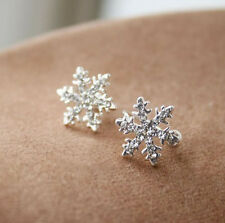 New Women's Fashion Comfy Clip On Snowflake Shape Crystal Studs Stud Earrings
