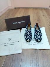 New & original Stubbs and Wootton black and tan needlepoint loafers! A rare find