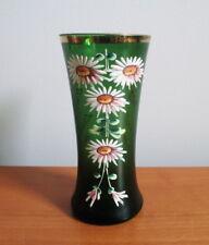 "Bohemian Czech Satin Glass Vase Emerald Green Enamel Flowers Gold Trim 5 1/2"""