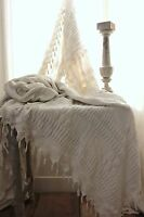 Crochet Coverlet Vintage French handmade knit bed cover off-white cotton 70X80in