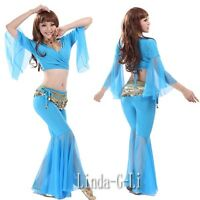 Sexy Yoga Belly Dance Costume 2 Pics Set Top + Pants 8 Colors 4/2