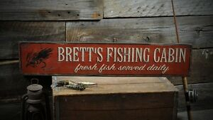Personalized Fishing Cabin Sign - Rustic Hand Made Vintage Wooden