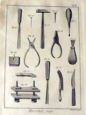 ANCIENNE GRAVURES XVIII S. ( 1784 ) MIROITIER , outils   PL. 8