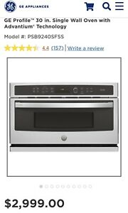 """GE Profile Advantium 30"""" Stainless Electric Wall Oven PSB9240SFSS New Out Of Box"""