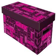 Comic Book Cardboard Storage Box with Geek, Pink Artwork, holds 150-175 Comics