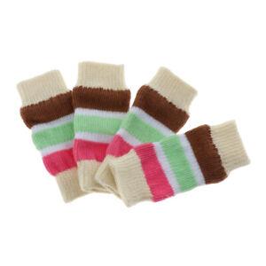 4pcs Pet Leg Warmers Winter Warm Stripe Pattern Cotton Leg Socks for Dog Cat