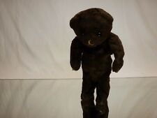 VINTAGE ANTIQUE TIN TOY HAIRY WIND-UP BEAR - BROWN H21.0cm - EXTREMELY RARE