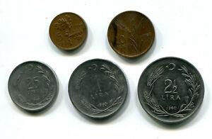 Turkey 5, 10 & 25 Kurus & 1, 2½ Lira 1960 KM-889, 890, 891, 892, 893 (5 pcs)