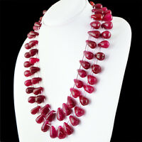 867.50 CTS EARTH MINED RICH RED RUBY 2 STRAND PEAR SHAPE BEADS NECKLACE - RARE