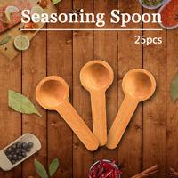 25x Mini Nature Wooden Cooking Spoons Scooper Salt-Seasoning Coffee Honey Spoons