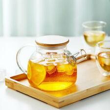 Thé eau verre clair théière Kettle avec Bamboo Couvercle et filtre 950ml