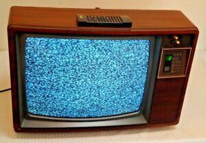 Vintage Zenith 19'' TV Television Retro GAMING Woodgrain WORKS Remote 1980s Prop