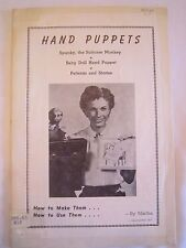 RARE VINTAGE c. 1950s Monkey Hand Puppet PATTERN and HOW TO by MARTHA EIFFERT *