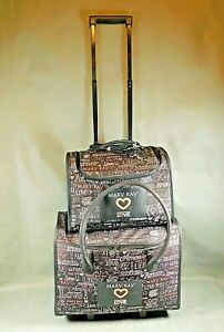 """Mary Kay Consultant Rolling Cosmetic Luggage Bag  """"LOVE"""" Set of 2 Pieces"""
