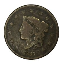 1837 1C Coronet Head Large Cent Vg Uncertified #