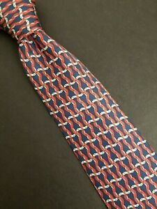 Nice Classic Hermes Silk Tie 7523 IA Blue Nautical Intertwined Ropes Made France