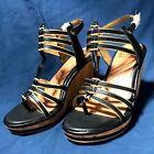 New DV Dolce Vita Sandals Tenley Strappy Black Gold Cork Wedge Platform Shoes 8