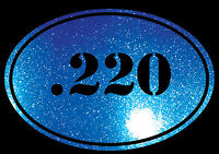 EURO OVAL Decal Sticker .220 Bullet Ammo swift Rifle Gun Case Glitter BLUE